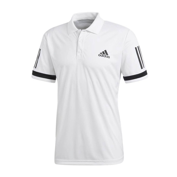 Adidas Club 3 Stripe Polo Shirt (Men's) - White-Tops- Canada Online Tennis Store Shop