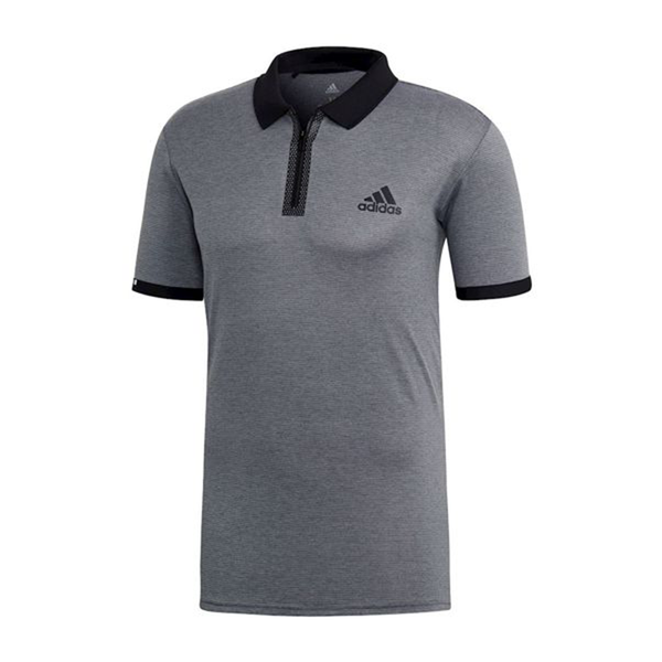Adidas Escouade Polo (Men's) - Grey Heather/Black-Tops- Canada Online Tennis Store Shop