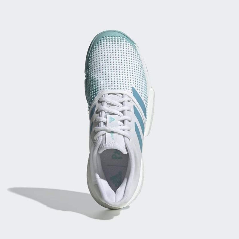 Adidas SoleCourt Boost Parley (Women's) - White/Blue Spirit-Footwear- Canada Online Tennis Store Shop