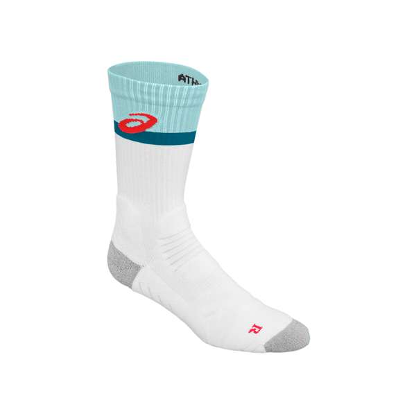 Asics Athlete Crew Sock (Unisex) - White/Blue/Teal/Red-Socks- Canada Online Tennis Store Shop