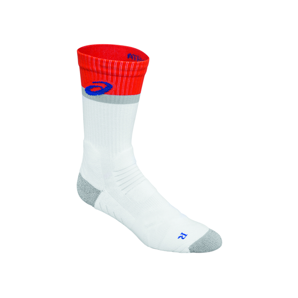 Asics Athlete Crew Sock (Unisex) - White/Red/Blue/Navy-Socks- Canada Online Tennis Store Shop