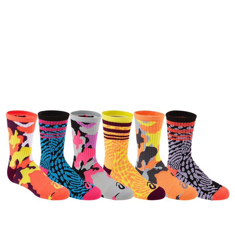 Asics Geo Camo Crew Socks 6 Pack (Junior) - Assorted-Socks- Canada Online Tennis Store Shop