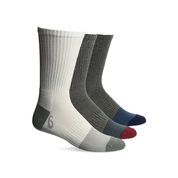 Asics Training Crew Socks 3 Pack (Unisex) - White/Grey Red/Grey Blue-Socks- Canada Online Tennis Store Shop