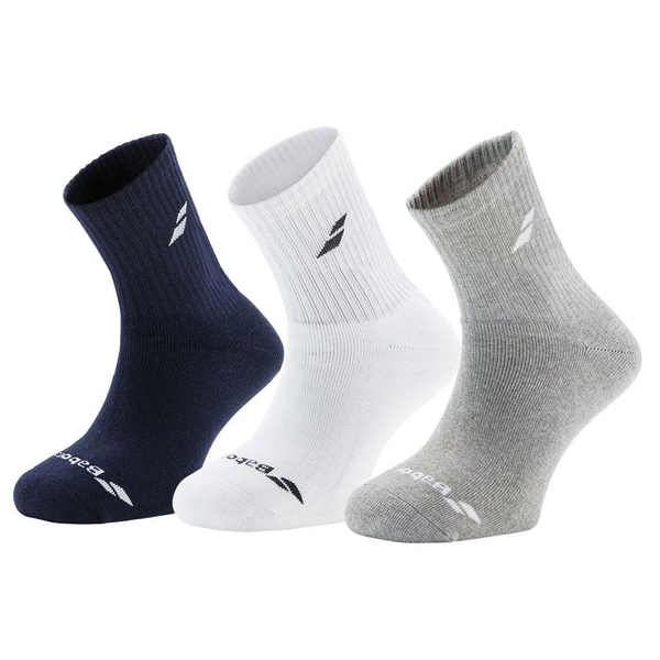 Babolat 3 Pack Socks (Junior) - Navy/White/Grey-Socks- Canada Online Tennis Store Shop