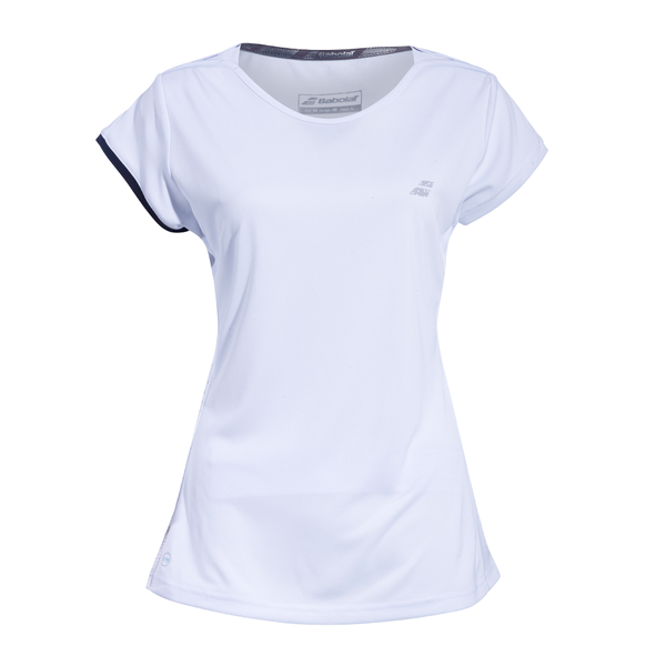 Babolat Perf Cap Sleeve Top (Girl's) - White/Silver-Tops- Canada Online Tennis Store Shop
