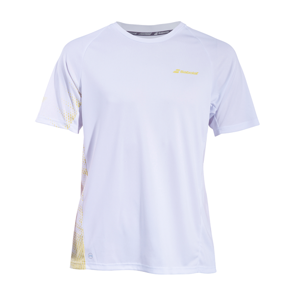 Babolat Perf Crew Neck Tee (Boy's) - White/Yellow-Tops- Canada Online Tennis Store Shop