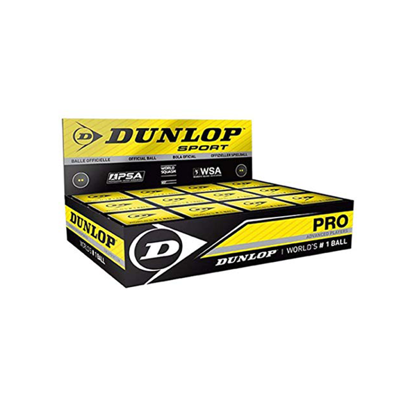 Dunlop Pro Squash Ball (Box of 12 Balls) - Double Yellow Dot-Squash Balls- Canada Online Tennis Store Shop