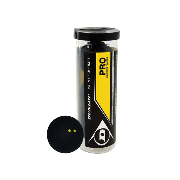 Dunlop Pro Squash Ball (Tube of 3 Balls) - Double Yellow Dot-Squash Balls- Canada Online Tennis Store Shop