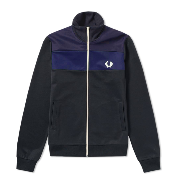 Fred Perry Colour Block Track Jacket (Men's) - Black/Bright Regal/Navy-Tops- Canada Online Tennis Store Shop