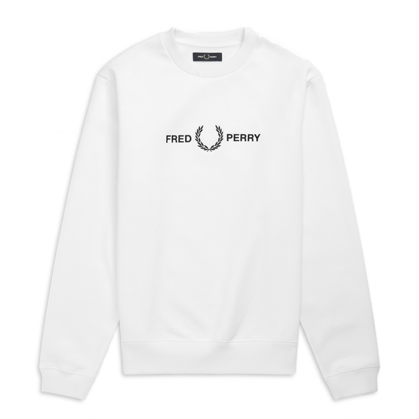 Fred Perry Graphic Sweatshirt (Men's) - White-Tops- Canada Online Tennis Store Shop