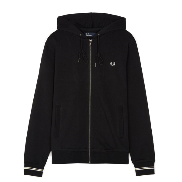 Fred Perry Hooded Zip Sweatshirt (Men's) - Black-Tops- Canada Online Tennis Store Shop
