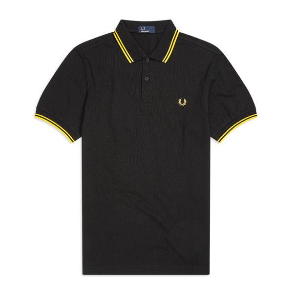 Fred Perry M3600 Polo Shirt (Men's) - Black/Bright Yellow-Tops- Canada Online Tennis Store Shop