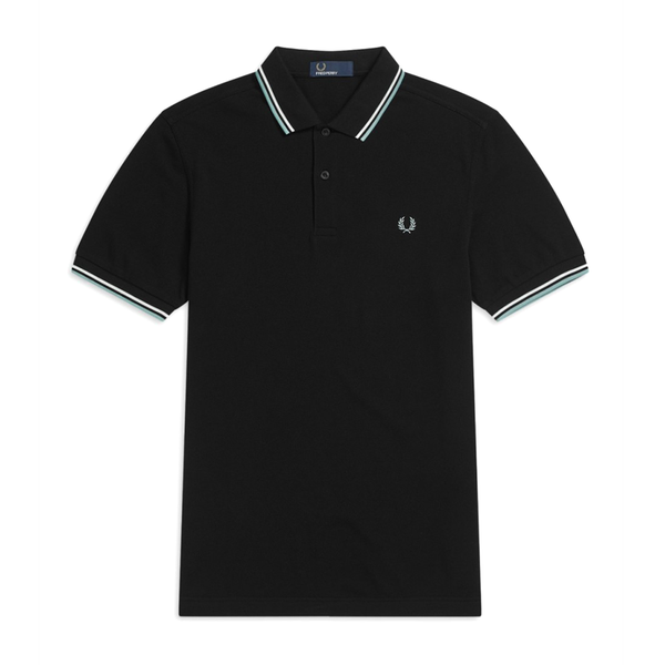 Fred Perry M3600 Polo Shirt (Men's) - Black/Mint/White-Tops- Canada Online Tennis Store Shop