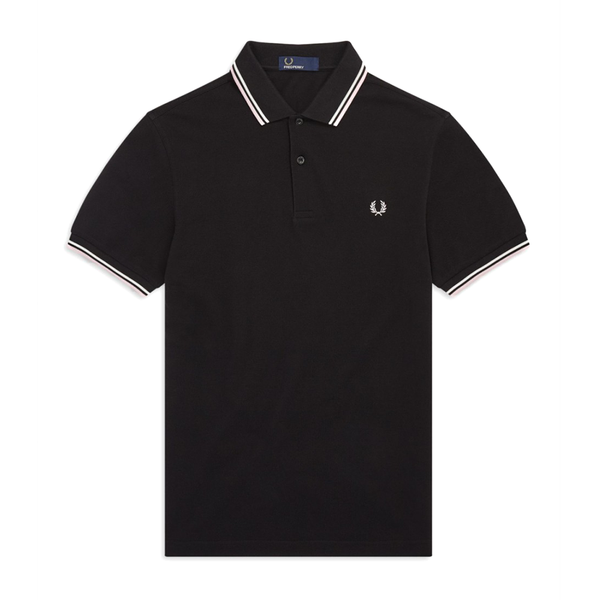 Fred Perry M3600 Polo Shirt (Men's) - Black/Soft Pink/White-Tops- Canada Online Tennis Store Shop