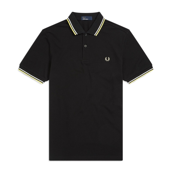 Fred Perry M3600 Polo Shirt (Men's) - Black/Soft Yellow/White-Tops- Canada Online Tennis Store Shop