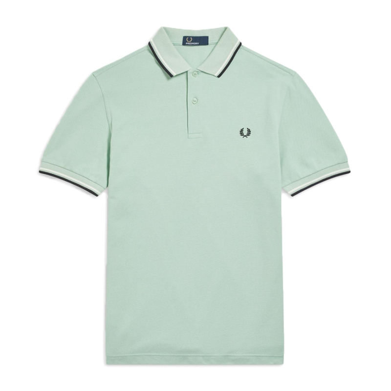 Fred Perry M3600 Polo Shirt (Men's) - Mint/White/Black-Tops- Canada Online Tennis Store Shop