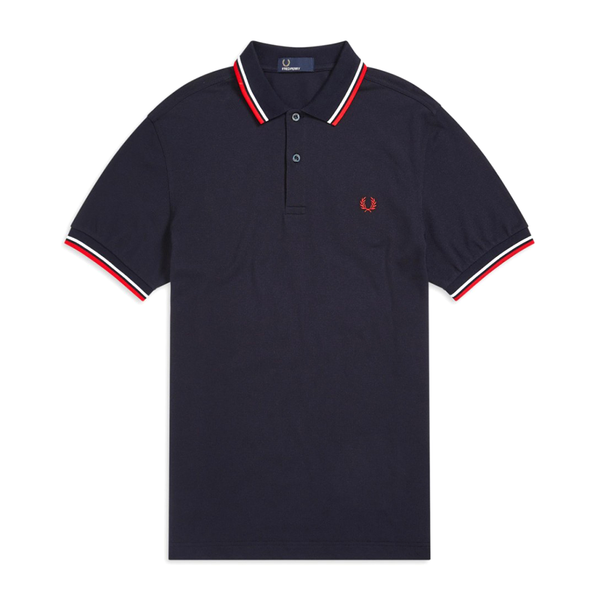 Fred Perry M3600 Polo Shirt (Men's) - Navy/White/Red-Tops- Canada Online Tennis Store Shop