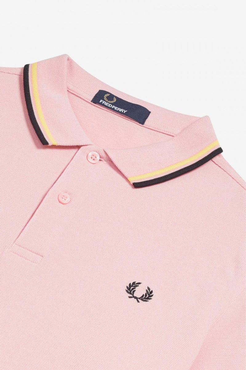 Fred Perry M3600 Polo Shirt (Men's) - Soft Pink/Soft Yellow/Black-Tops- Canada Online Tennis Store Shop
