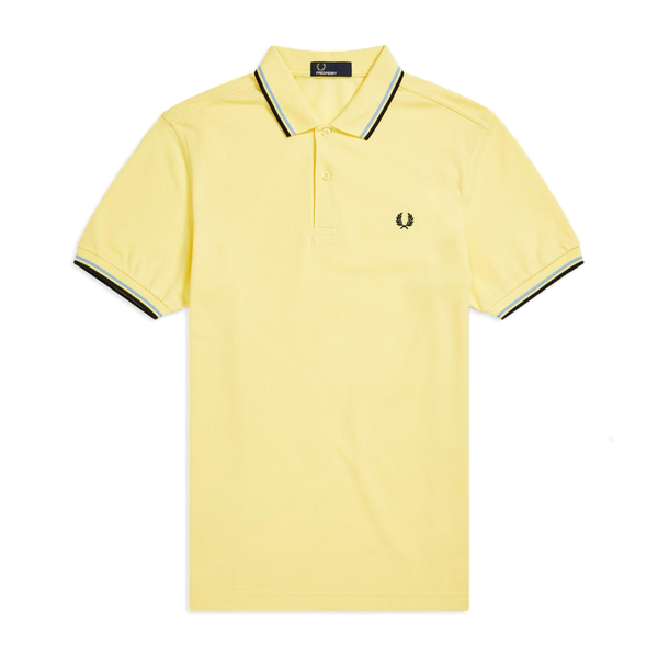 Fred Perry M3600 Polo Shirt (Men's) - Soft Yellow/Blue/Black-Tops- Canada Online Tennis Store Shop