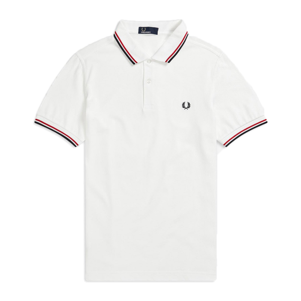 Fred Perry M3600 Polo Shirt (Men's) - White/Navy/Red-Tops- Canada Online Tennis Store Shop