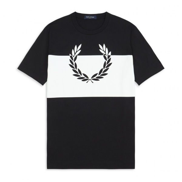 Fred Perry Printed Laurel Wreath T-Shirt (Men's) - Black/White-Tops- Canada Online Tennis Store Shop