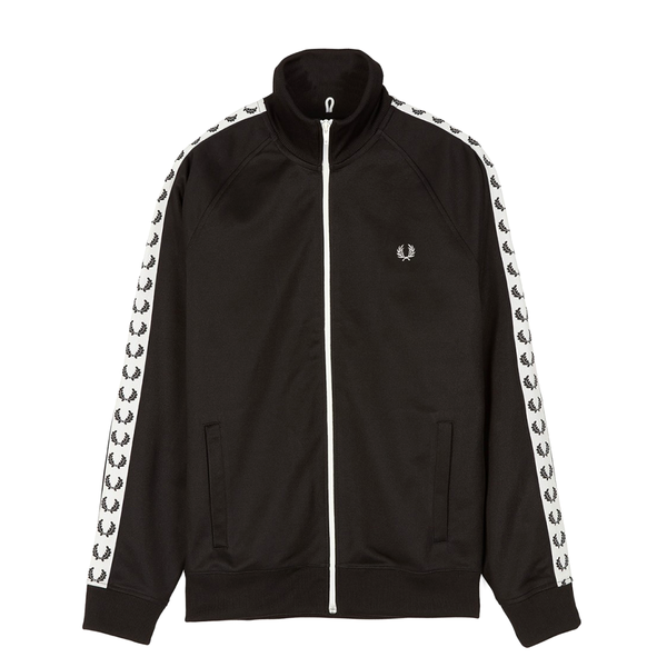 Fred Perry Taped Track Jacket (Men's) - Black/White-Tops- Canada Online Tennis Store Shop