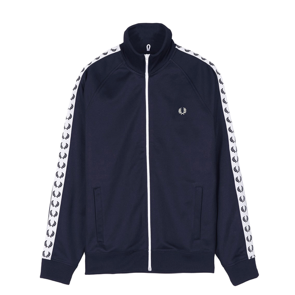 Fred Perry Taped Track Jacket (Men's) - Carbon Blue/White-Tops- Canada Online Tennis Store Shop