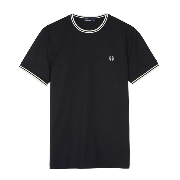 Fred Perry Twin Tipped T-Shirt (Men's) - Black/White-Tops- Canada Online Tennis Store Shop