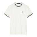 Fred Perry Twin Tipped T-Shirt (Men's) - Snow White/Black-Tops- Canada Online Tennis Store Shop