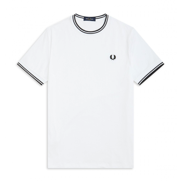 Fred Perry Twin Tipped T-Shirt (Men's) - White/Black-Tops- Canada Online Tennis Store Shop