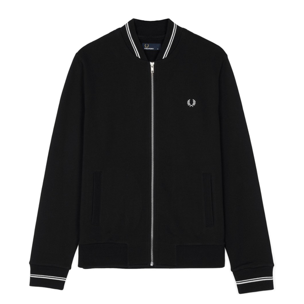 Fred Perry Zip Tennis Bomber Sweat (Men's) - Black/White-Tops- Canada Online Tennis Store Shop