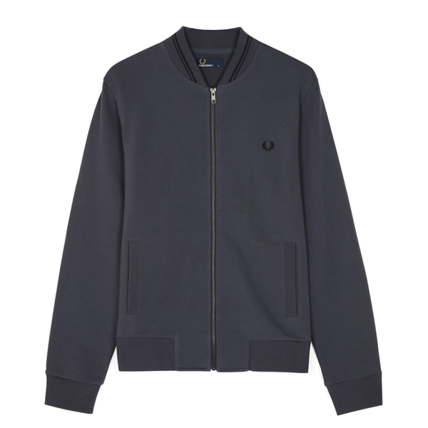 Fred Perry Zip Tennis Bomber Sweat (Men's) - Charcoal/Black-Tops- Canada Online Tennis Store Shop