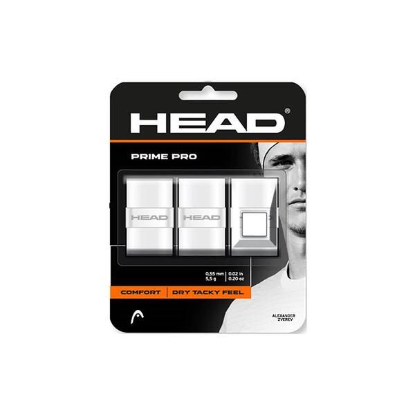 HEAD Prime Pro Overgrip (3 pack) - White-Grips- Canada Online Tennis Store Shop