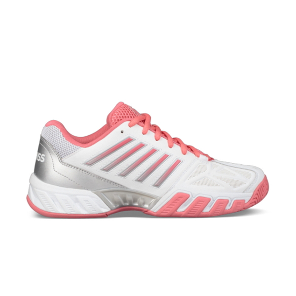 K-Swiss Big Kids Bigshot Light 3 (Junior) - White/Coral/Silver-Footwear- Canada Online Tennis Store Shop