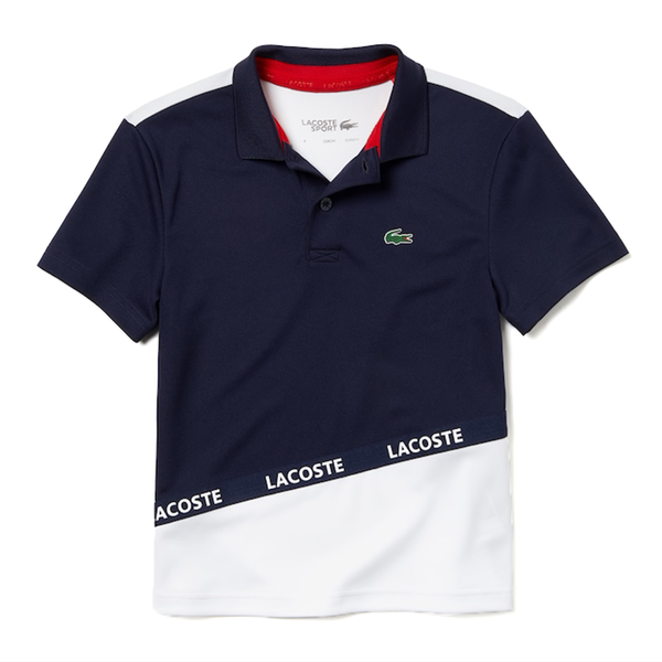 Lacoste SPORT Color-Block Breathable Piqué Polo (Boy's) - Navy Blue/White/Red-Tops- Canada Online Tennis Store Shop