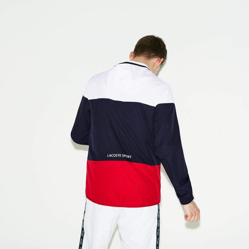 Lacoste Sport Colorblock Tennis Jacket (Men's) - White/Navy Blue/Red-Tops- Canada Online Tennis Store Shop