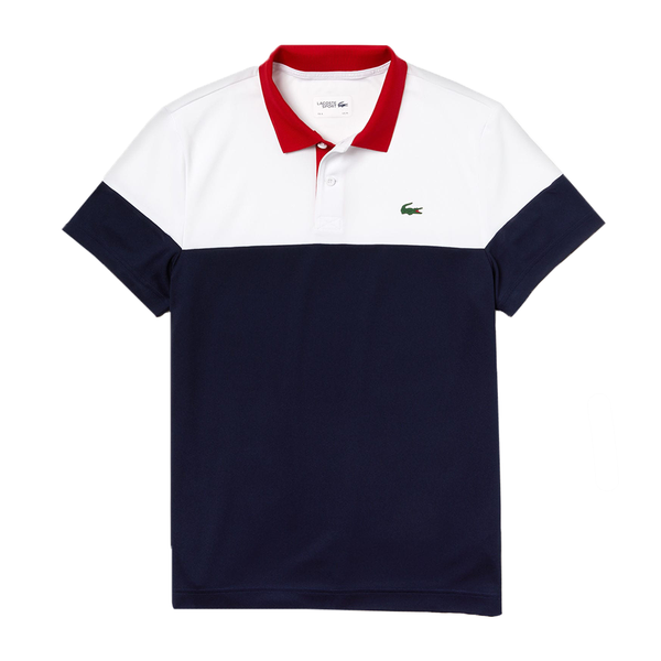 Lacoste Sport Colourblock Pique Polo (Men's) - White/Navy Blue/Red-Tops- Canada Online Tennis Store Shop