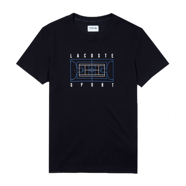 Lacoste SPORT Crew Neck Print T-shirt (Men's) - Black/White/Blue-Tops- Canada Online Tennis Store Shop