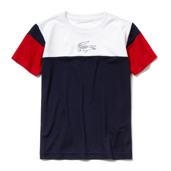 Lacoste Sport Crew Neck Tennis T-Shirt (Boy's) - White/Navy Blue/Red-Tops- Canada Online Tennis Store Shop