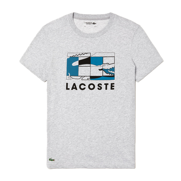Lacoste SPORT Crocodile Design Breathable T-shirt (Men's) - Grey Chine/Black/Blue-Tops- Canada Online Tennis Store Shop