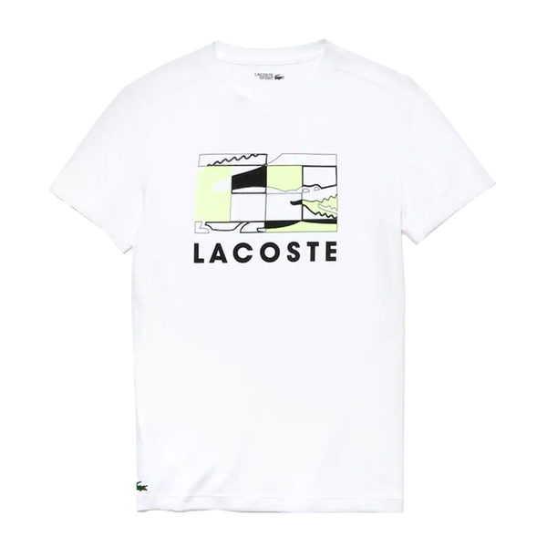 Lacoste SPORT Crocodile Design Breathable T-shirt (Men's) - White/Black/Flashy Yellow-Tops- Canada Online Tennis Store Shop