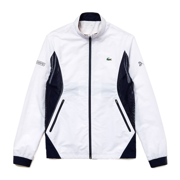 Lacoste SPORT Novak Djokovic Full-Zip Jacket (Men's) - White/Navy Blue-Tops- Canada Online Tennis Store Shop