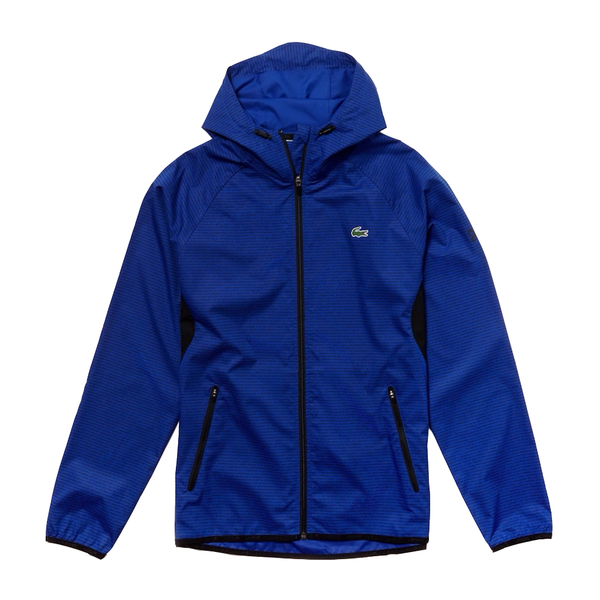 Lacoste SPORT Novak Djokovic Hooded Technical Jacket (Men's) - Blue/Black-Tops- Canada Online Tennis Store Shop