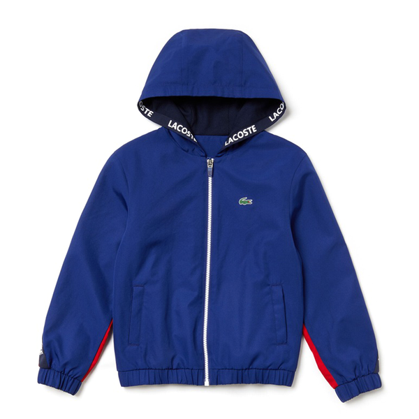 Lacoste Sport Signature Bands Bicolour Sweat Jacket (Boy's) - Navy Blue/Red/White-Tops- Canada Online Tennis Store Shop