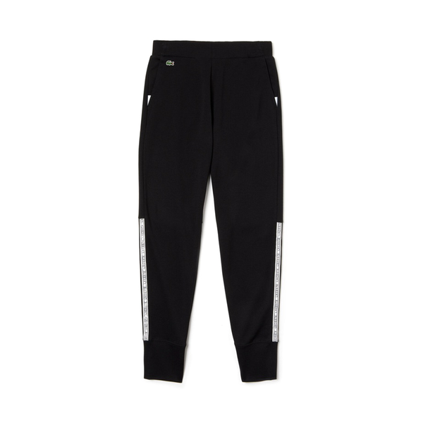 Lacoste Sport Signature Bands Fleece Tennis Sweatpants (Women's) - Black/White-Bottoms- Canada Online Tennis Store Shop