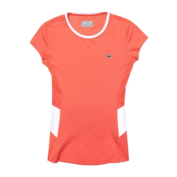 Lacoste Sport Stretch Tech Mesh T-Shirt (Women's) - Coral/White-Tops- Canada Online Tennis Store Shop