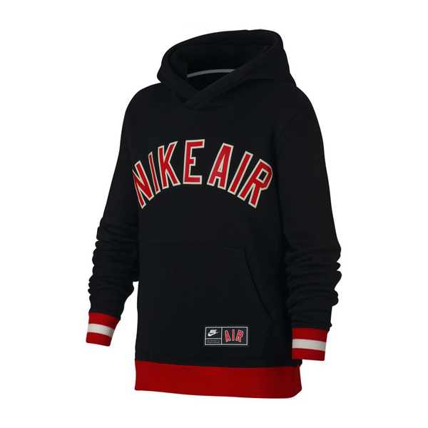 Nike Air Fleece Pullover Hoodie (Boy's) - Black/University Red-Tops- Canada Online Tennis Store Shop