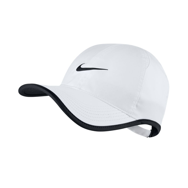 Nike Court Aerobill Featherlight Tennis Cap - White/Black-Hats- Canada Online Tennis Store Shop