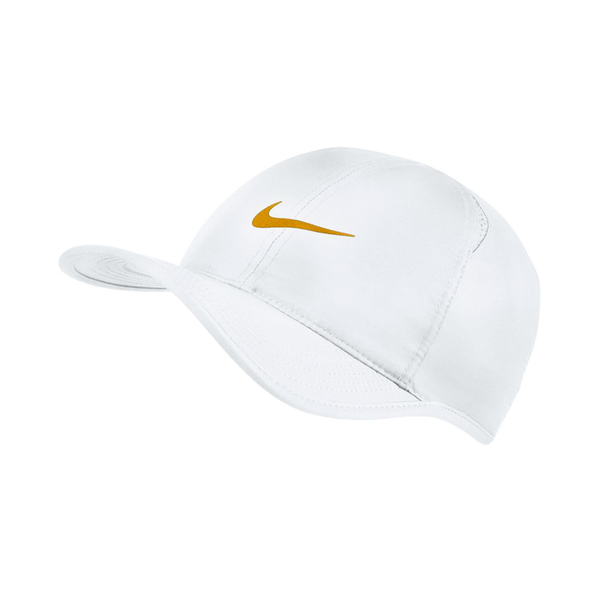 Nike Court Aerobill Featherlight Tennis Cap - White/Gold Leaf-Hats- Canada Online Tennis Store Shop