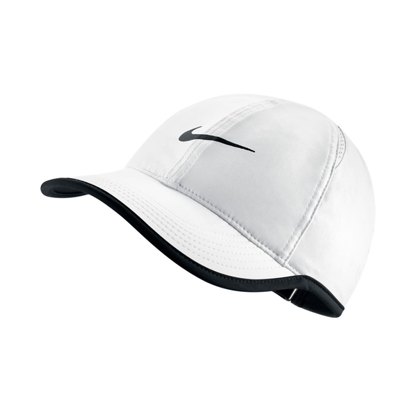 Nike Court Aerobill Featherlight Tennis Cap (Women's Fit) - White/Black-Hats- Canada Online Tennis Store Shop